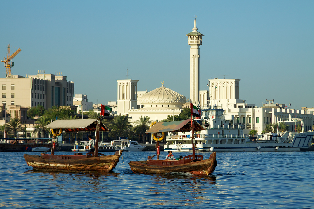Ferry dhows starting to ply Dubai Creek in the early morning.  Pic Courtesy- www.flickr.com